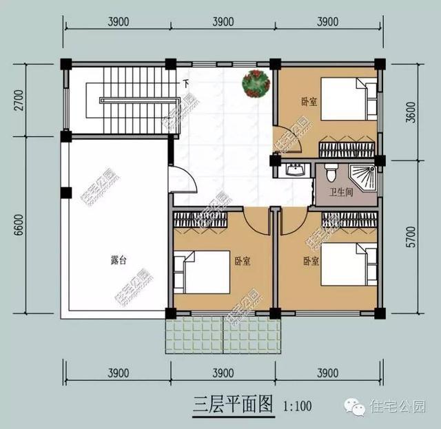 7x9.3米农村三层自建房,户型方正经典(含预算)