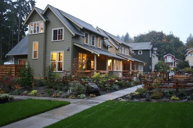 房子虽小,但都是节能环保的木结构房屋,屋顶上还有太阳能光伏发电