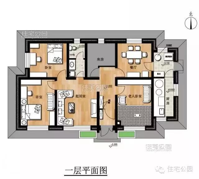 5套带小院自建平房户型,不用请设计师,照图纸就能盖!