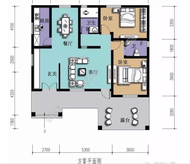 5平方米,共设2室1厅1卫1厨,是欧式的平房设计适合三口之家.