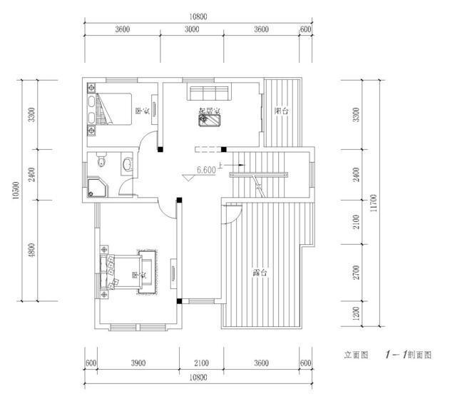 建筑立面图:   屋顶平面图:   一层设有车库、老人房、客厅、餐厅;老人房位于房屋西北处,与公共卫生间相连,厨房在楼梯拐角,与室内其它活动区域分隔而开.