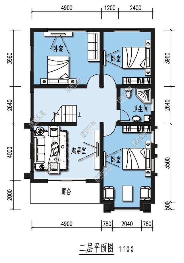 9农村自建房设计图三室一厅