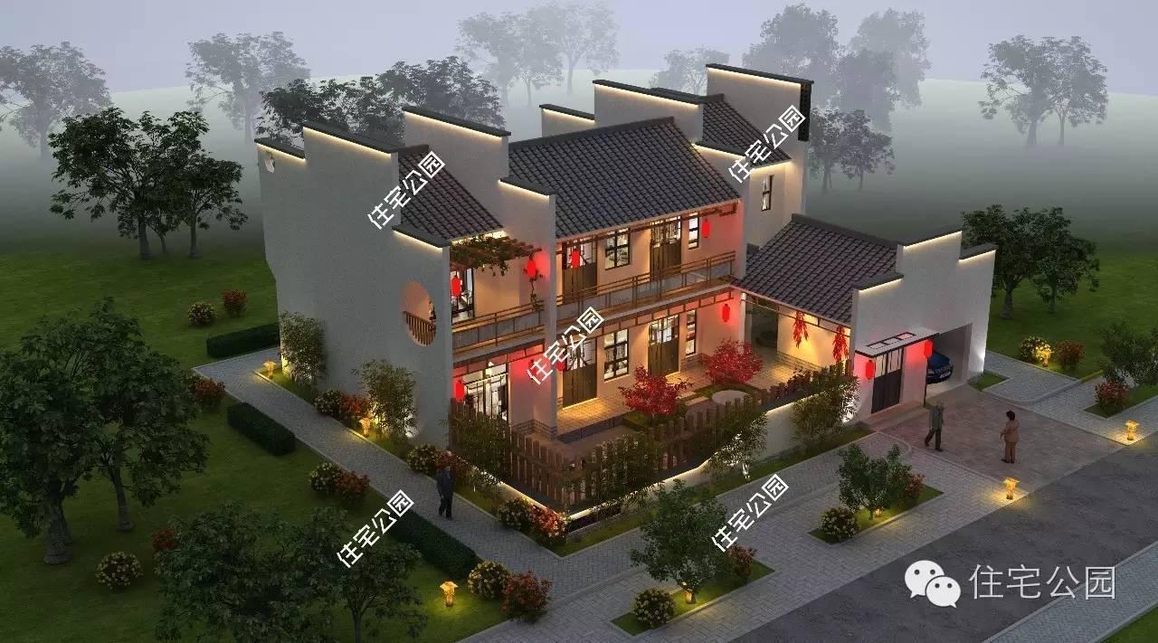360°立面效果图   平面图   一层有前庭后院,绿化景观这样布置肯定是