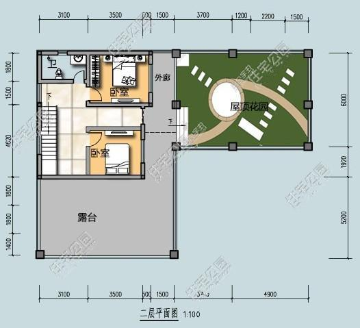整套自建房是l型的设计,屋顶花园可以养花,留出8.