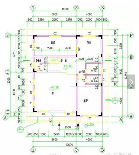 新农村自建房别墅设计图户型一  长宽:10.66×12.