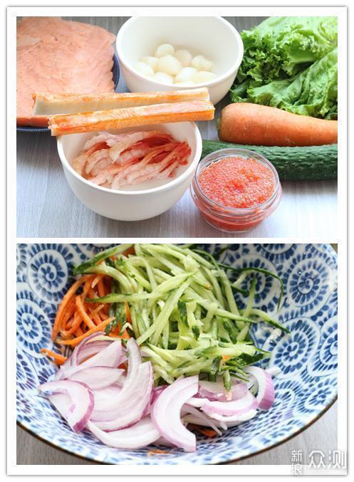 .准备食材:将三文鱼、扇贝丁、寿 大火快速煎熟表面后,转小