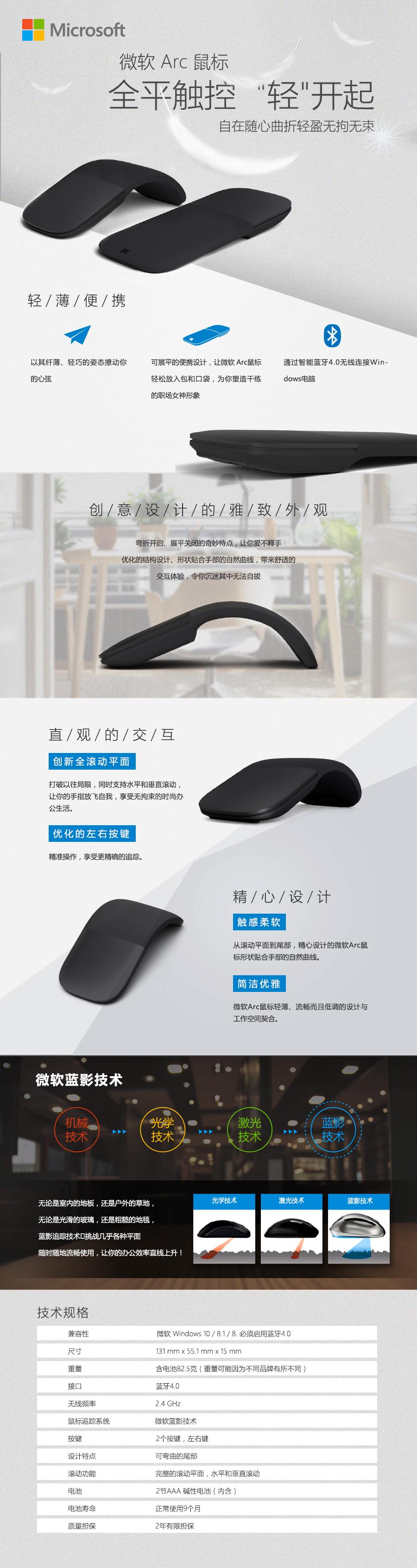 微软Arc无线鼠标免费试用,评测
